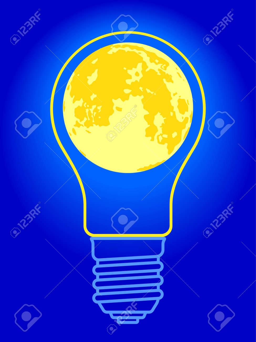 illustration of the abstract light bulb and full moon ロイヤリティ