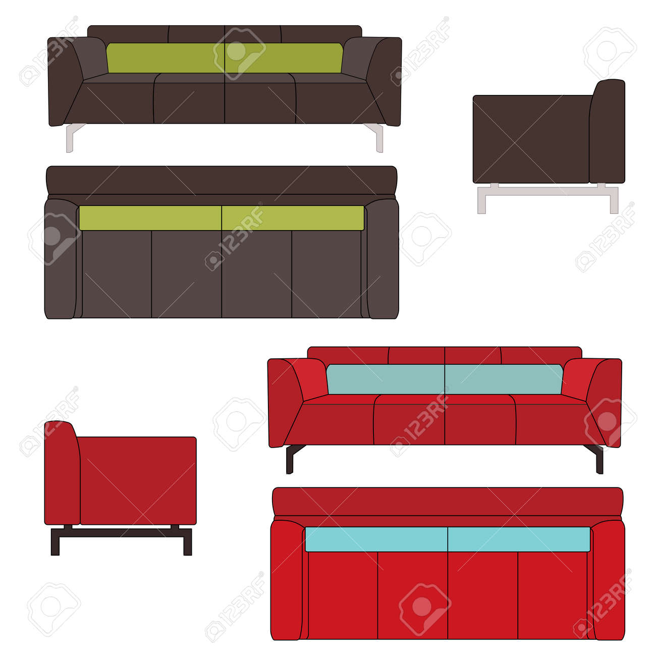 Sofa Set Flat Illustration Top Front Side View Royalty Free Cliparts