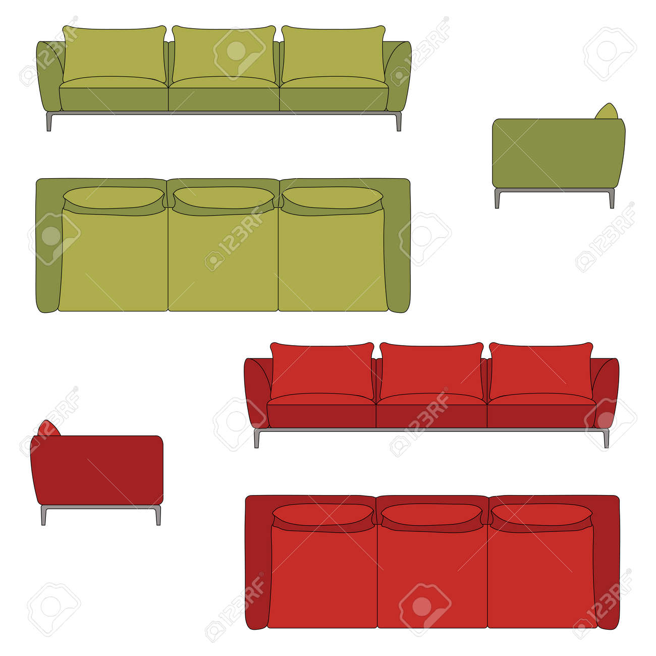 Sofa Set Flat Vector Illustration Top Front Side View Stock