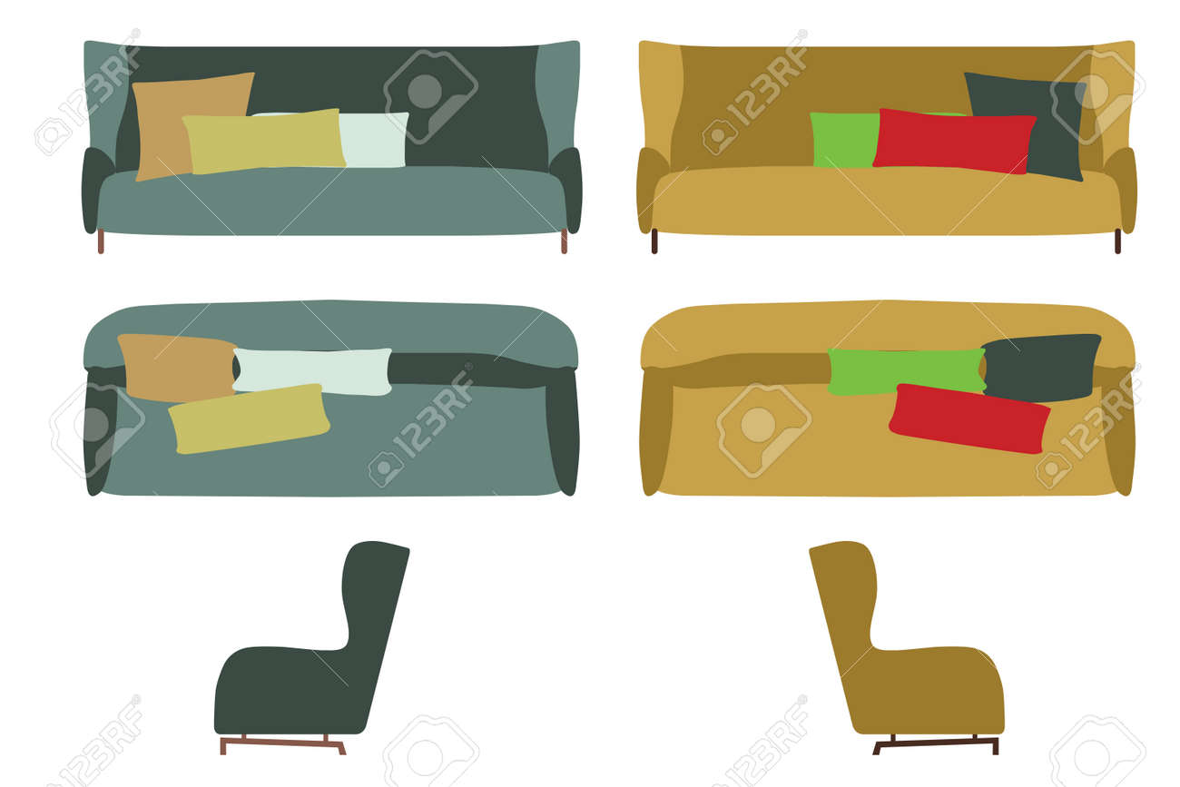 side view office set. Big Sofas Set. Home Office Furniture For Your Interior Design. Flat Vector Illustration. Side View Set E