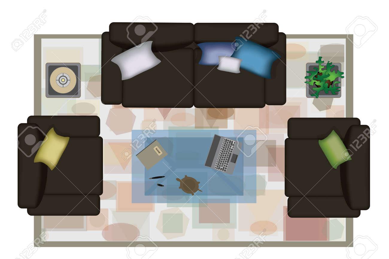Verführerisch Sessel Couch Sammlung Von Interior Icons Draufsicht Mit Sofa Isoliert Vektor-tration.