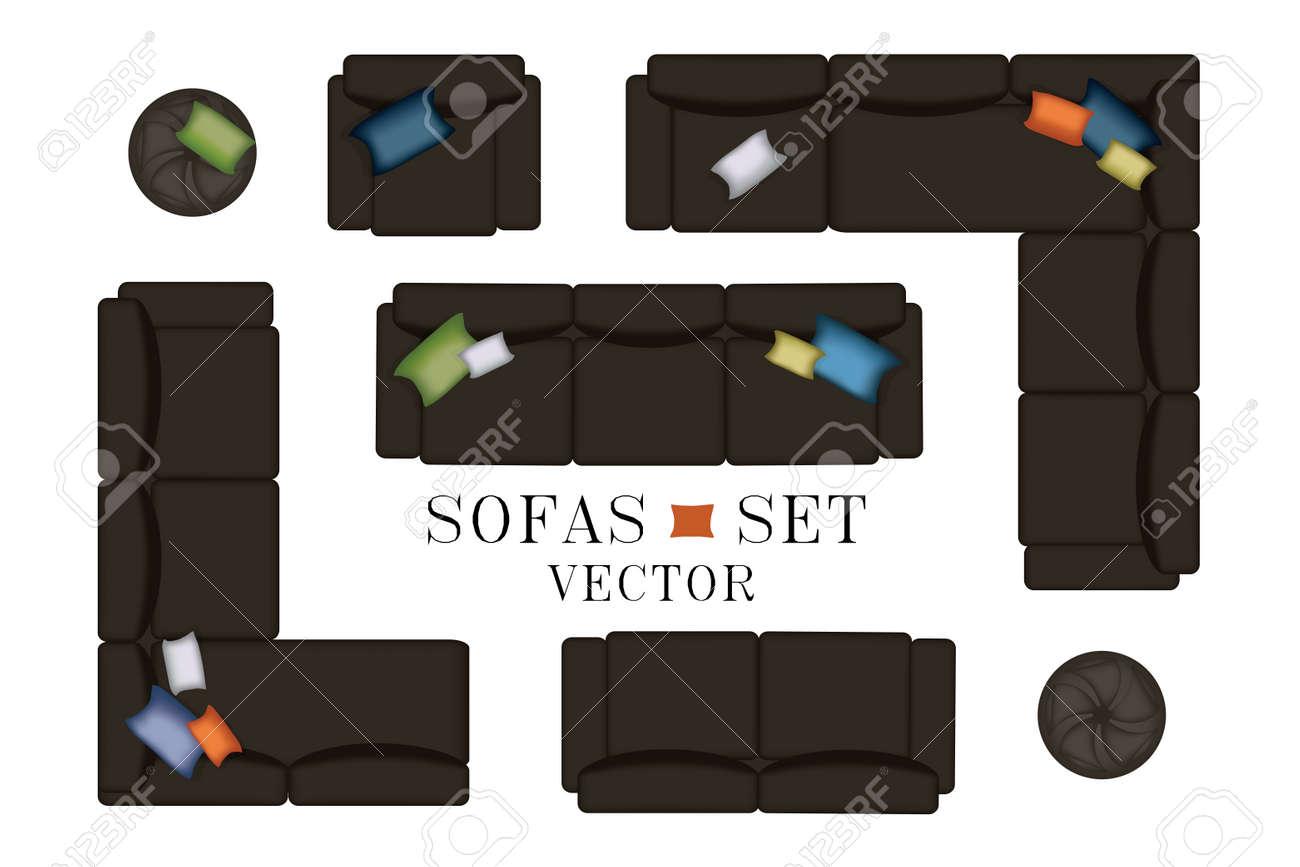 Conjunto Sofas Sillon Muebles Puf Alfombras Tv Plantas Mesa Auxiliar Para Su Diseno Interior Ilustracion Vectorial Plana Vista Superior