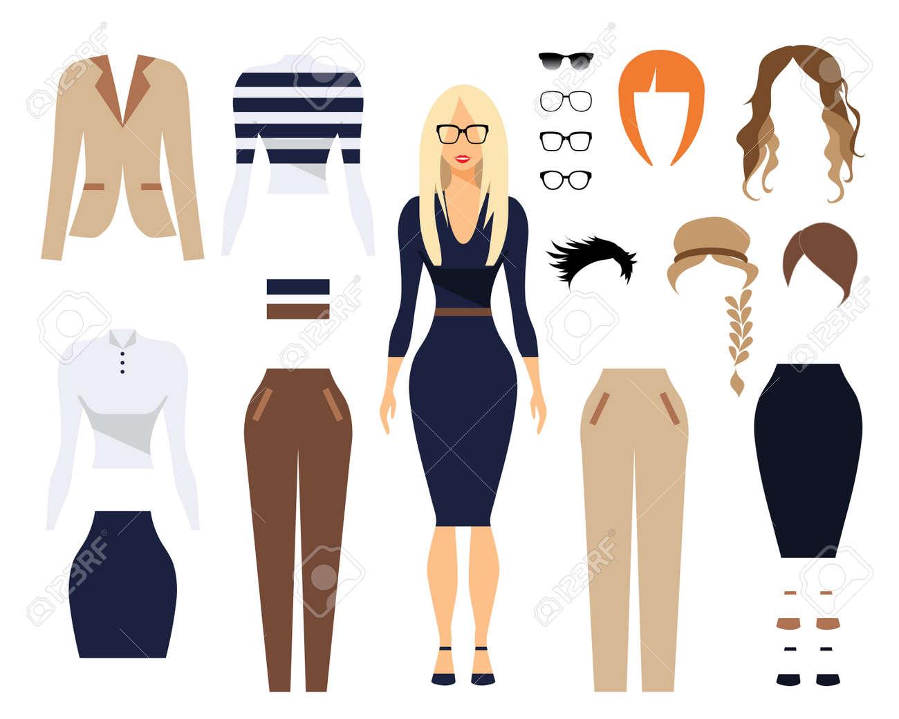 Frau Im Büro Kleidung Stilvolle Einheitliches Design Set 1 Von