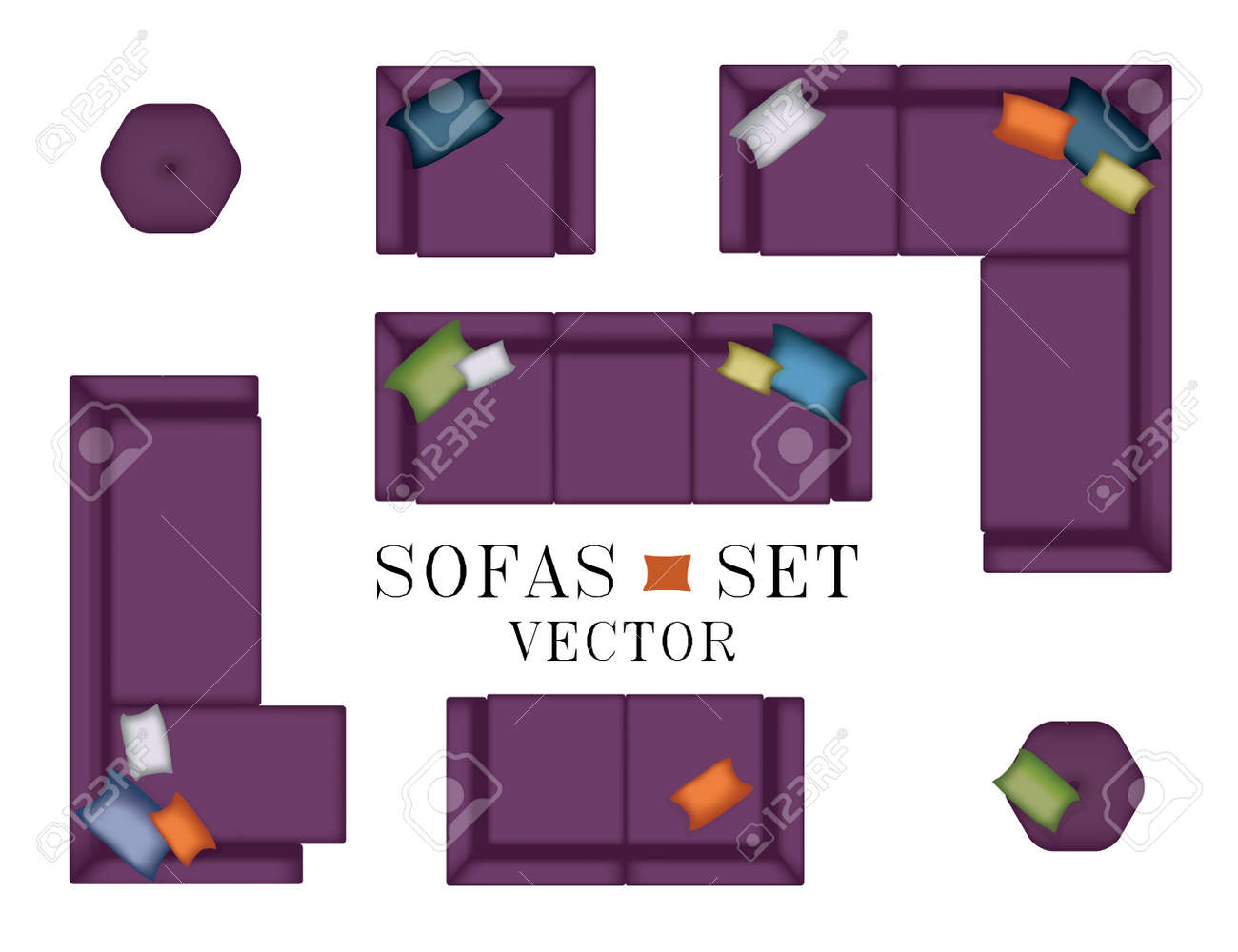 Sofas Armchair Set Top View Furniture Pouf Pillows For Your