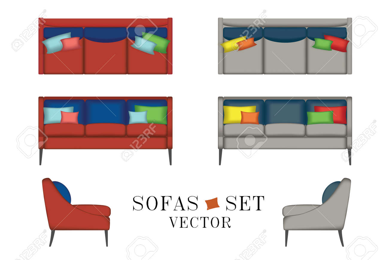 Sofas Set Furniture For Your Interior Design Vector Illustration  # Meuble Tv Hanna