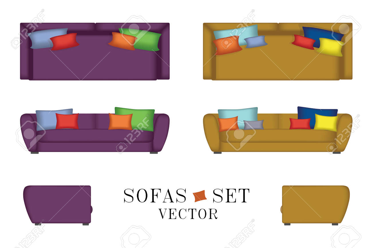 Sofas Set. Furniture For Your Interior Design. Vector Illustration. Top,  Front And