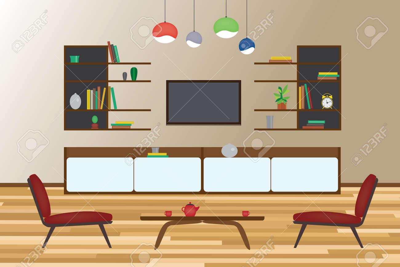 Startseite Inter Flachen Vektor Design. Wohnzimmer Und Esszimmer Mit  Möbeln. Set Standard