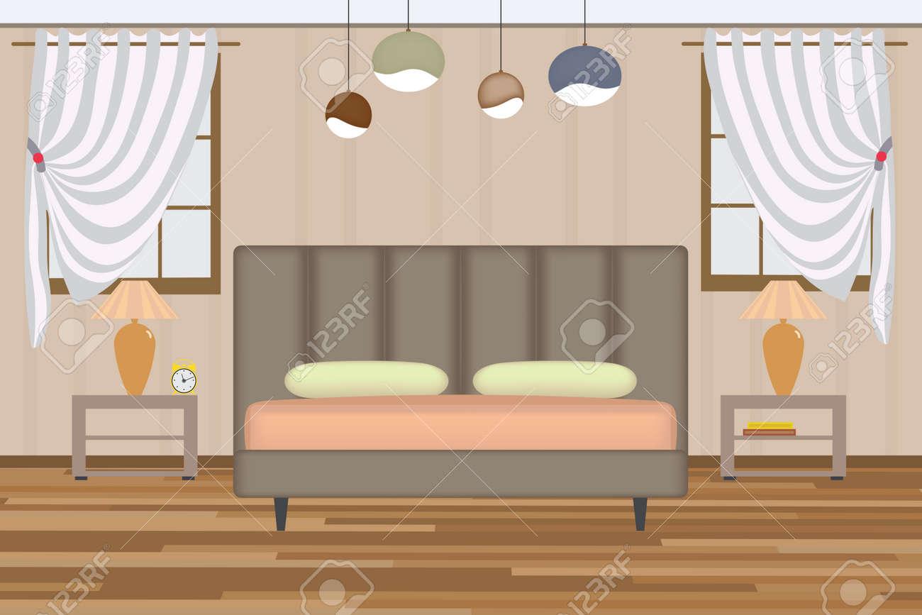 Elevation Zimmer Mit Bett, Beistelltisch, Lampe, Fenster Und Vorhänge.