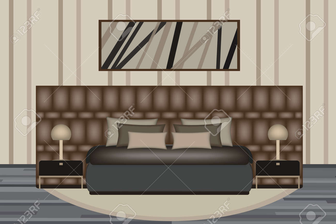 Bedroom Illustration Elevation Room With Luxury Bed Side Table