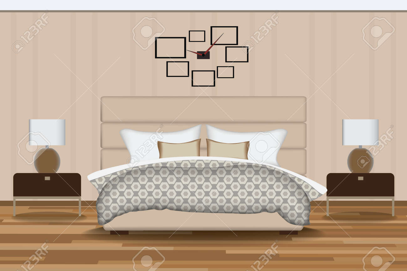 Schlafzimmer Illustration. Elevation Zimmer Mit Bett, Beistelltisch, Lampe,  Fenster Und Vorhänge.