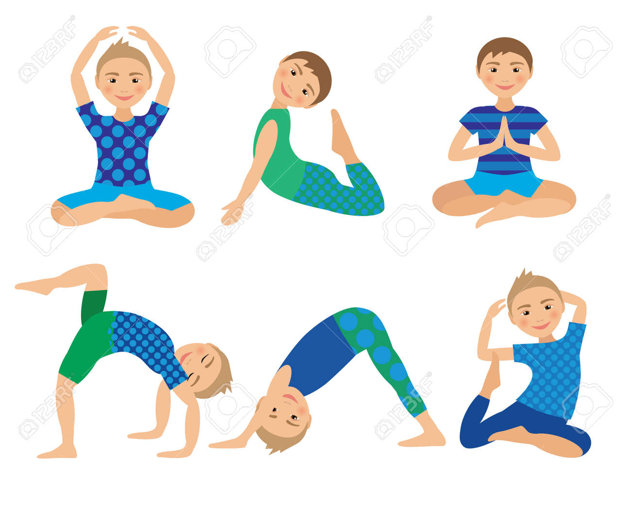 Kids Yoga Poses Vector Illustration Child Doing Exercises Posture For Kid Healthy Children