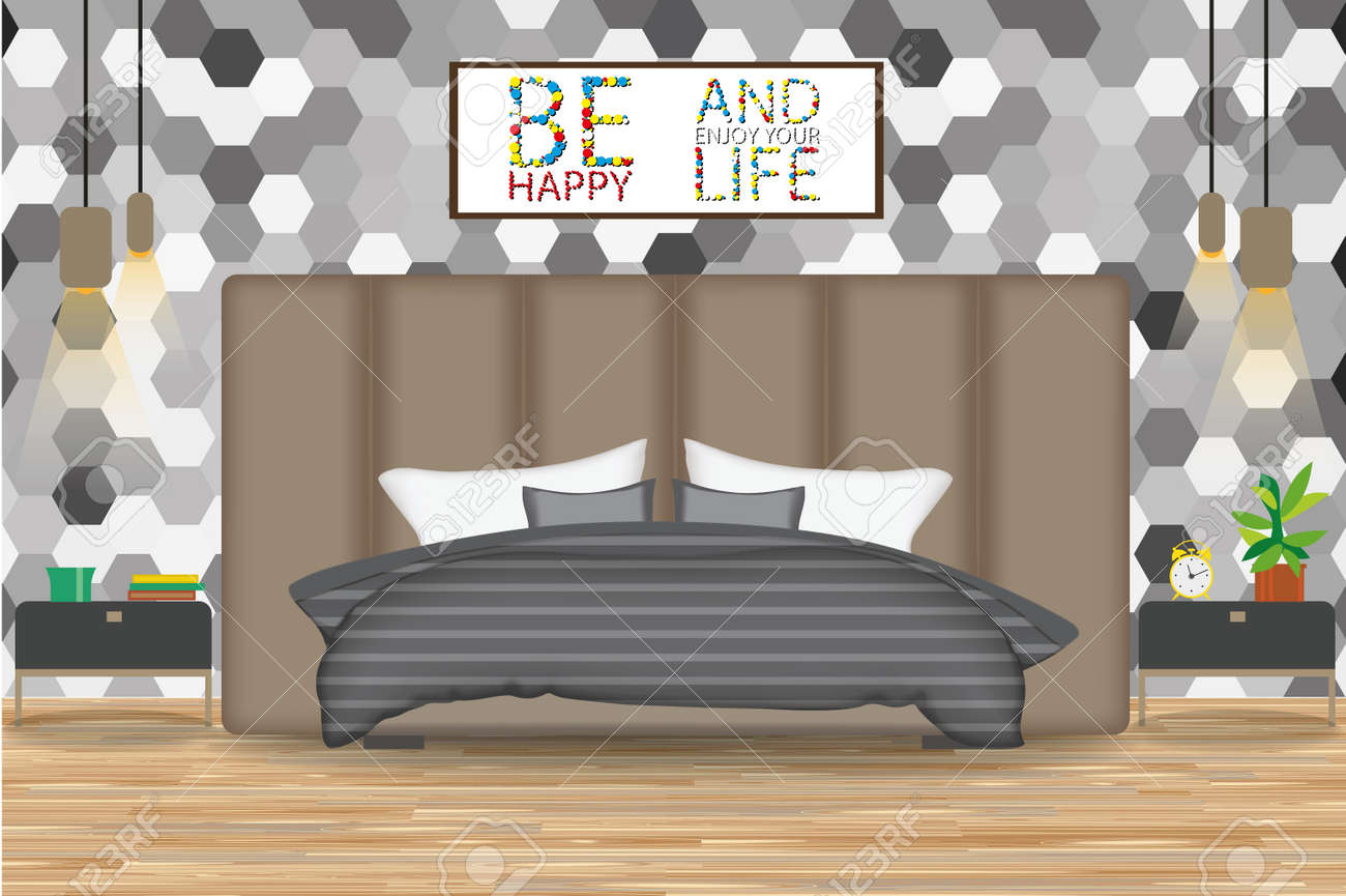 Loft Style Interior Design Vector Illustration Bed In Front Of