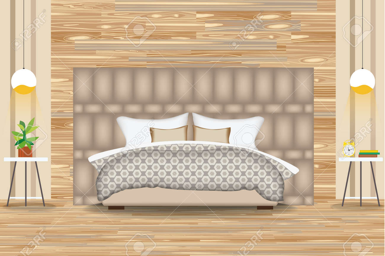 Modern style interior design vector illustration bed in front