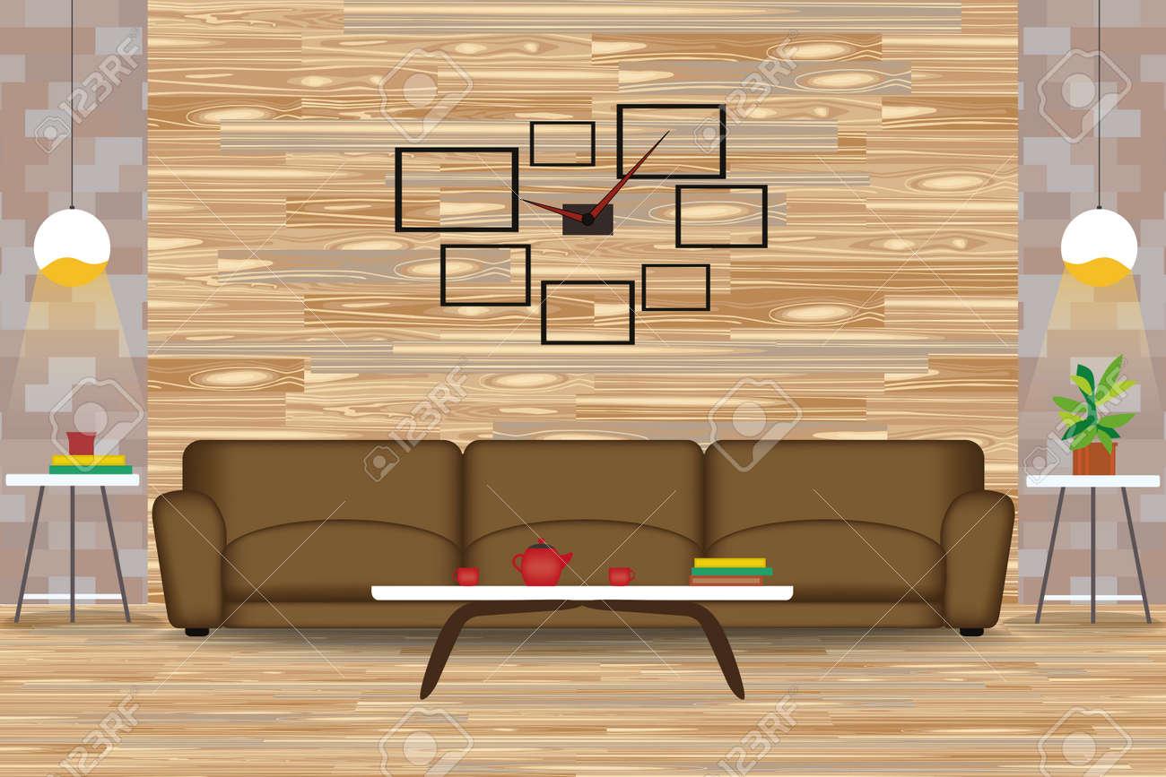 Modern Style Interior Design Vector Illustration.Sofa in Front..