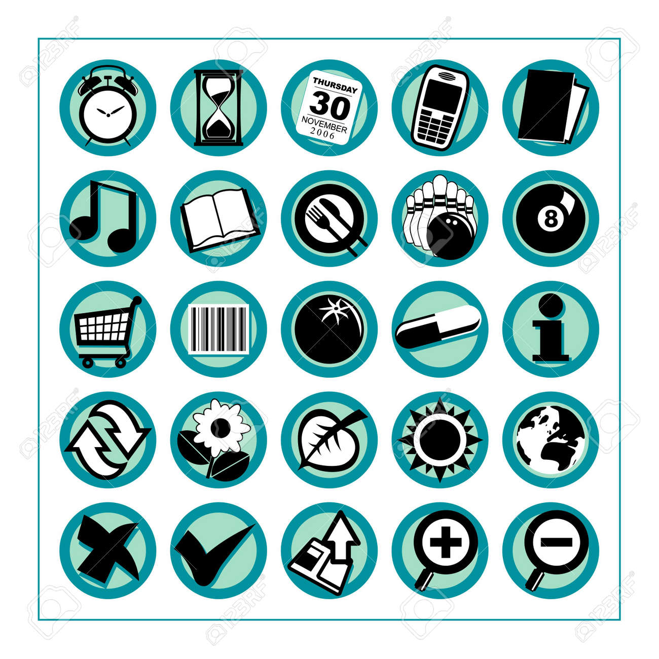 Useful Icons 2 - Version 1: Collection of 25 different useful icons #2 - Version 1. Please check other versions and sets. Stock Photo - 271791