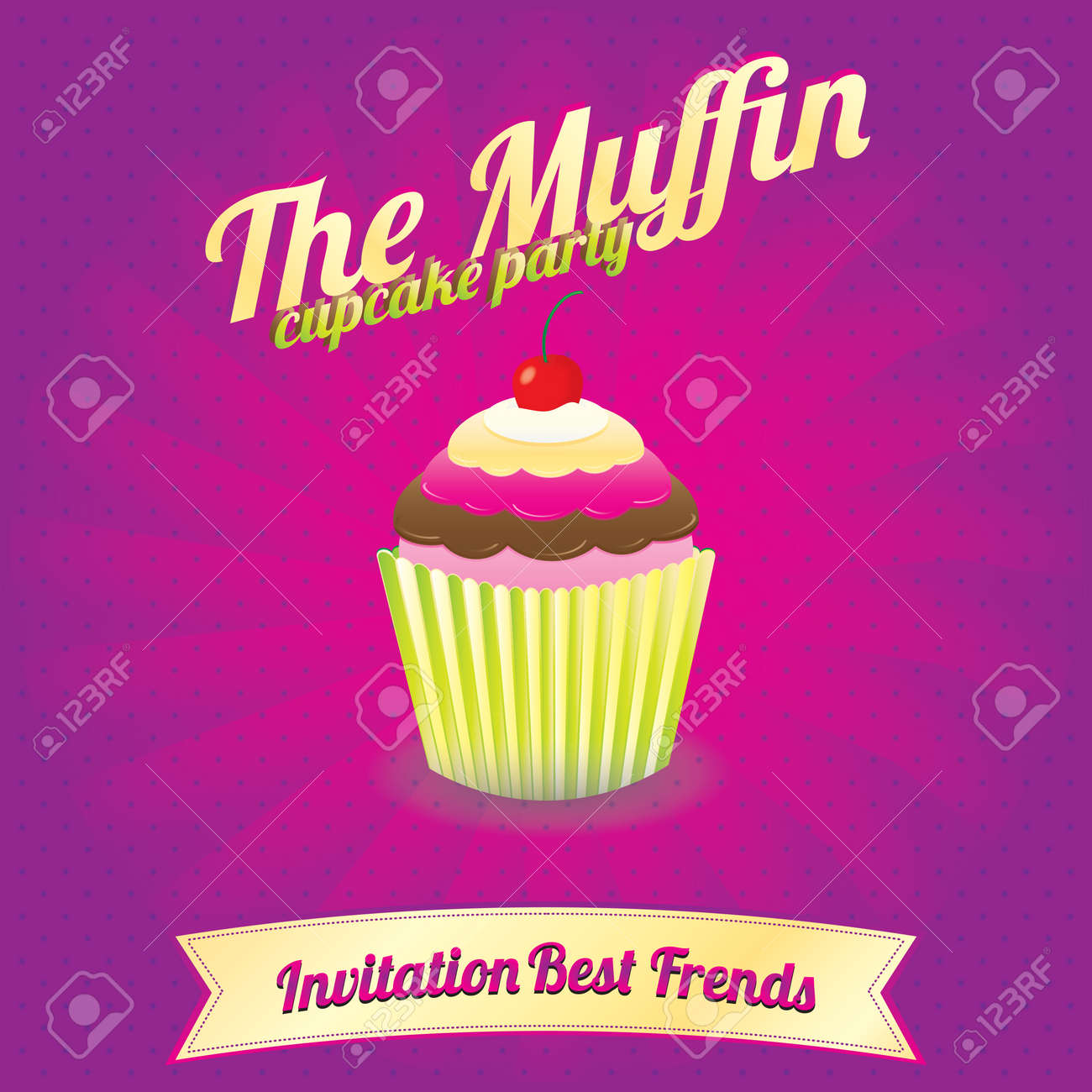 The Muffin Cupcake Party Invitation Best Frends Royalty Free ...