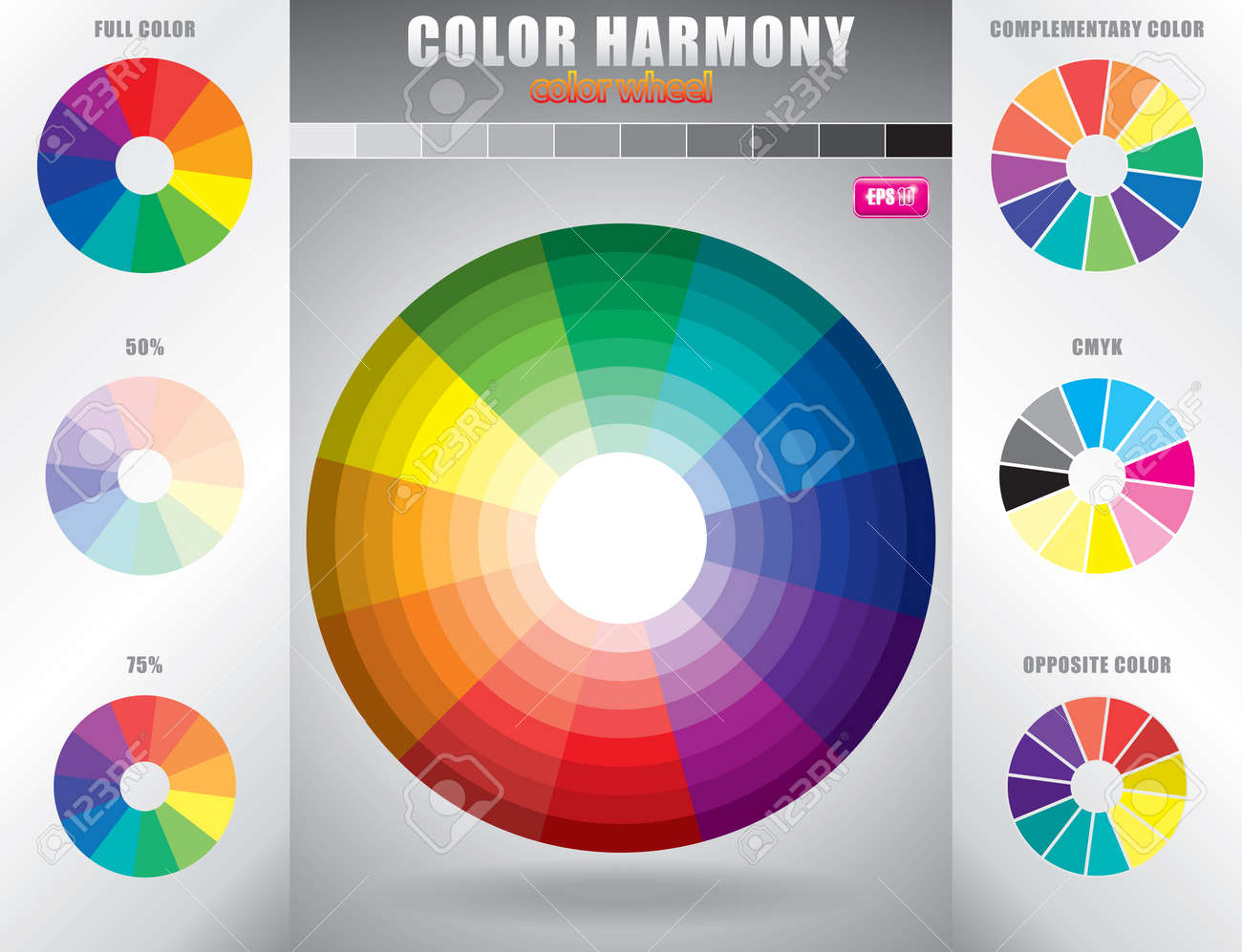 Color Harmony Wheel With Shade Of Colors Stock Vector