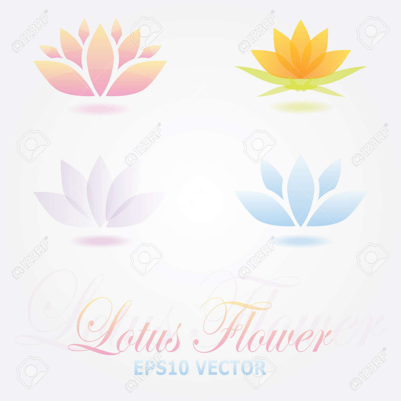 Lotus Flower Logo Spa Set Royalty Free Kliparty Vektory A Ilustrace