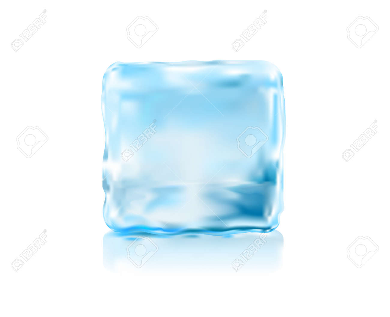 Ice Cube Front View Vector Illustration Royalty Free Cliparts