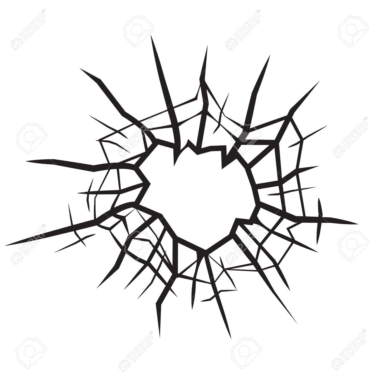 hole in glass cracked glass black and white vector royalty free