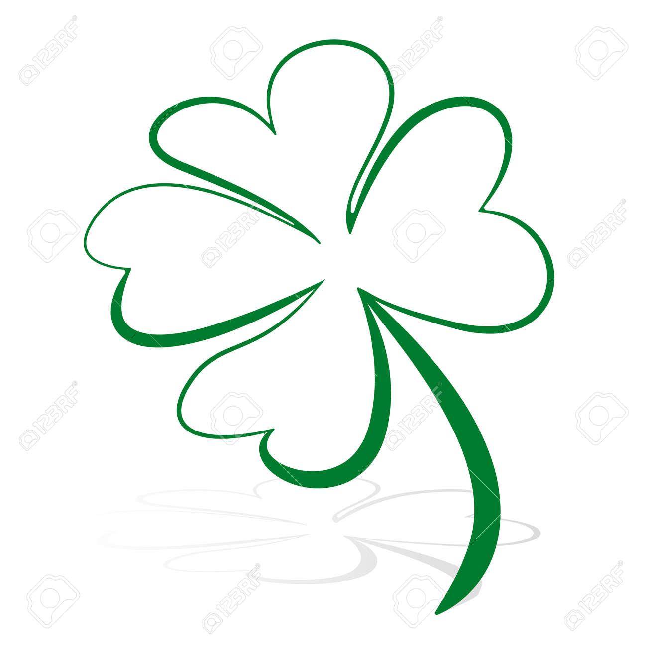 Trébol De Cuatro Hojas Símbolo De Icono De Vector Verde
