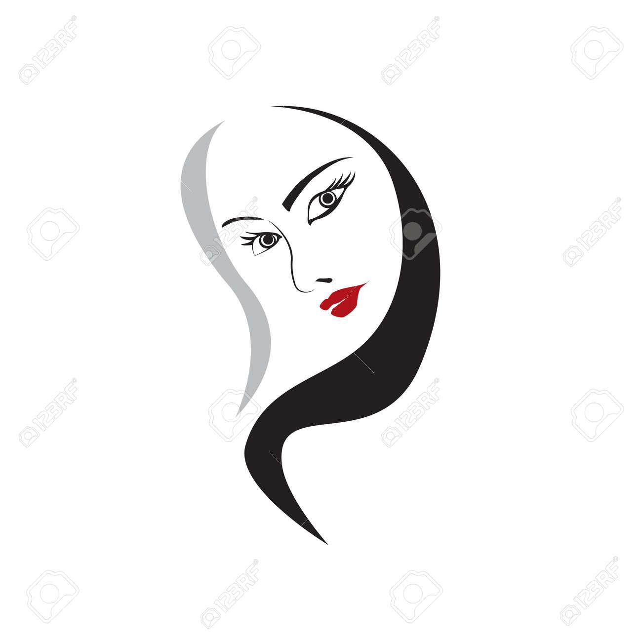 Frau Gesicht Vektor Element Für Design Zeichnen Lizenzfrei Nutzbare