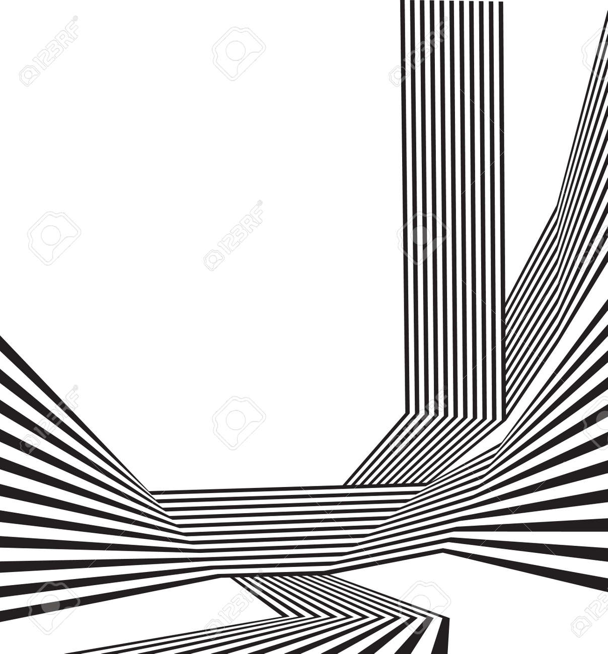 black and white mobious wave stripe optical abstract design - 53861648