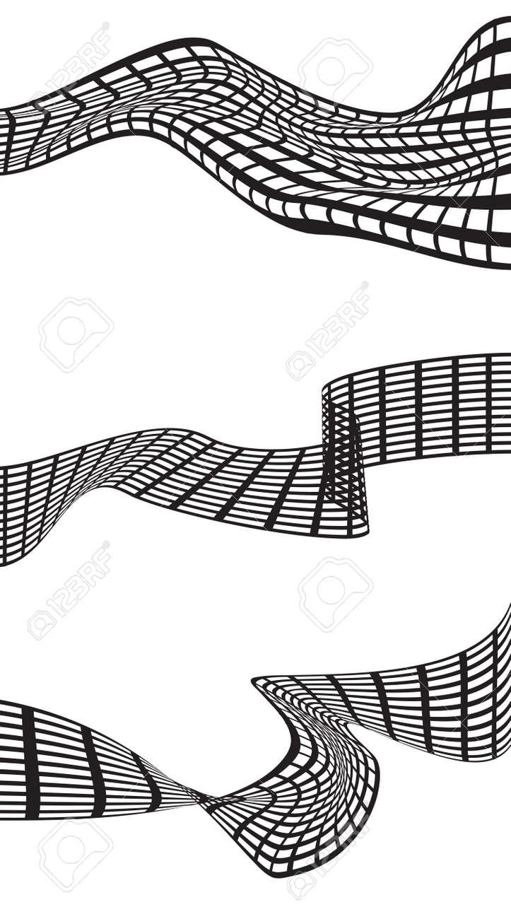 Abstrakte Schwarze Welle Auf Weißem Hintergrund. Illustration Für Die  Moderne Business Design. Futuristisch