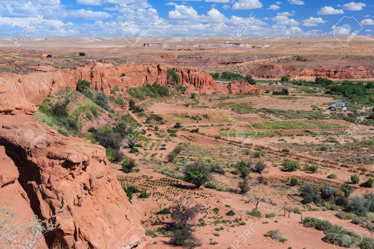 view of navajo and hopi nation reservations in arizona, usa stock