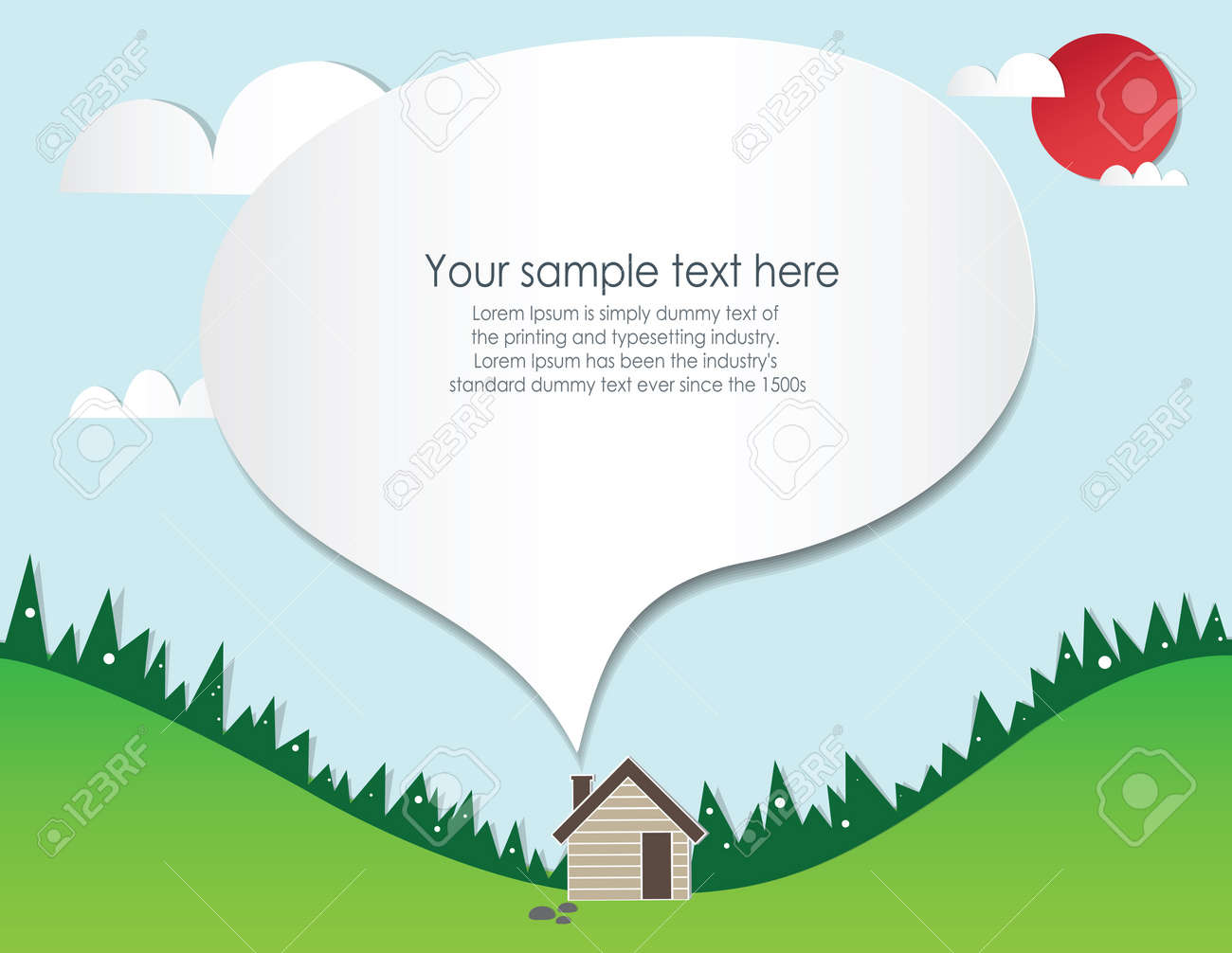 Paper cut home and landscape Stock Vector - 21463925