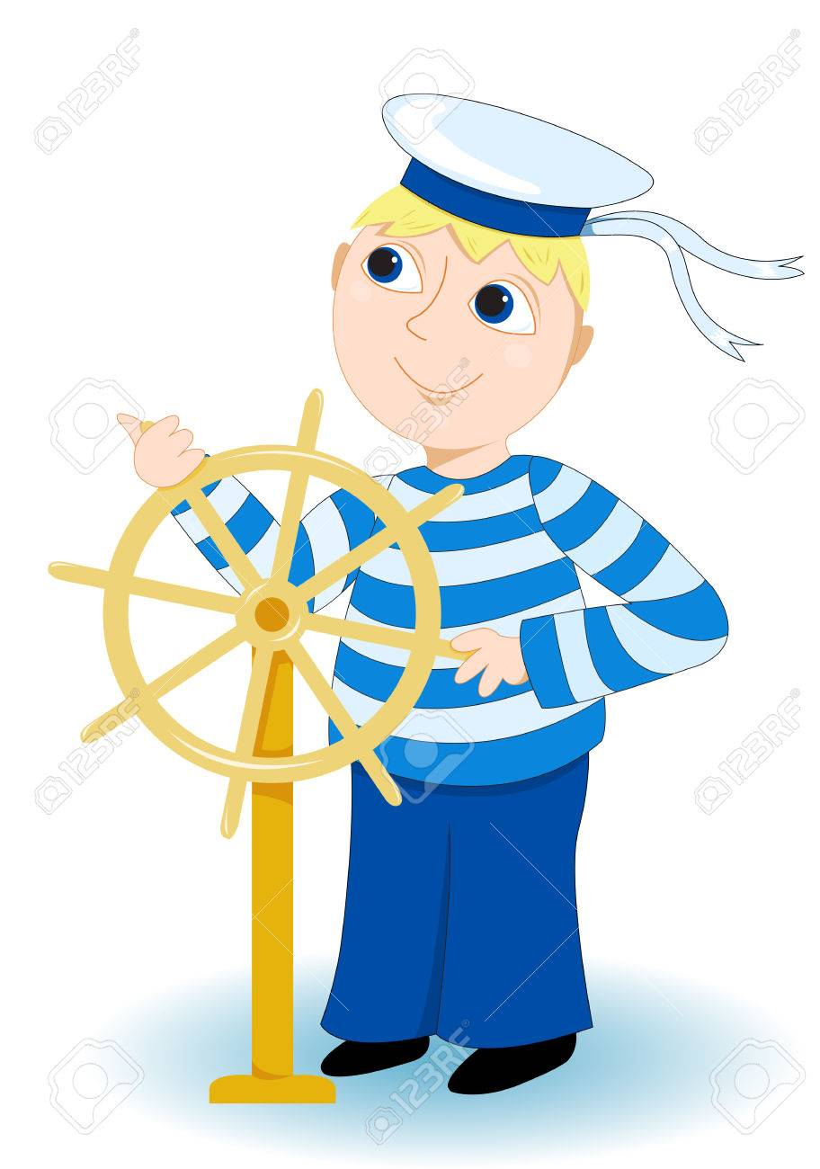 Boy in a sea stripped vest operates a wheel. On white. - 6725999