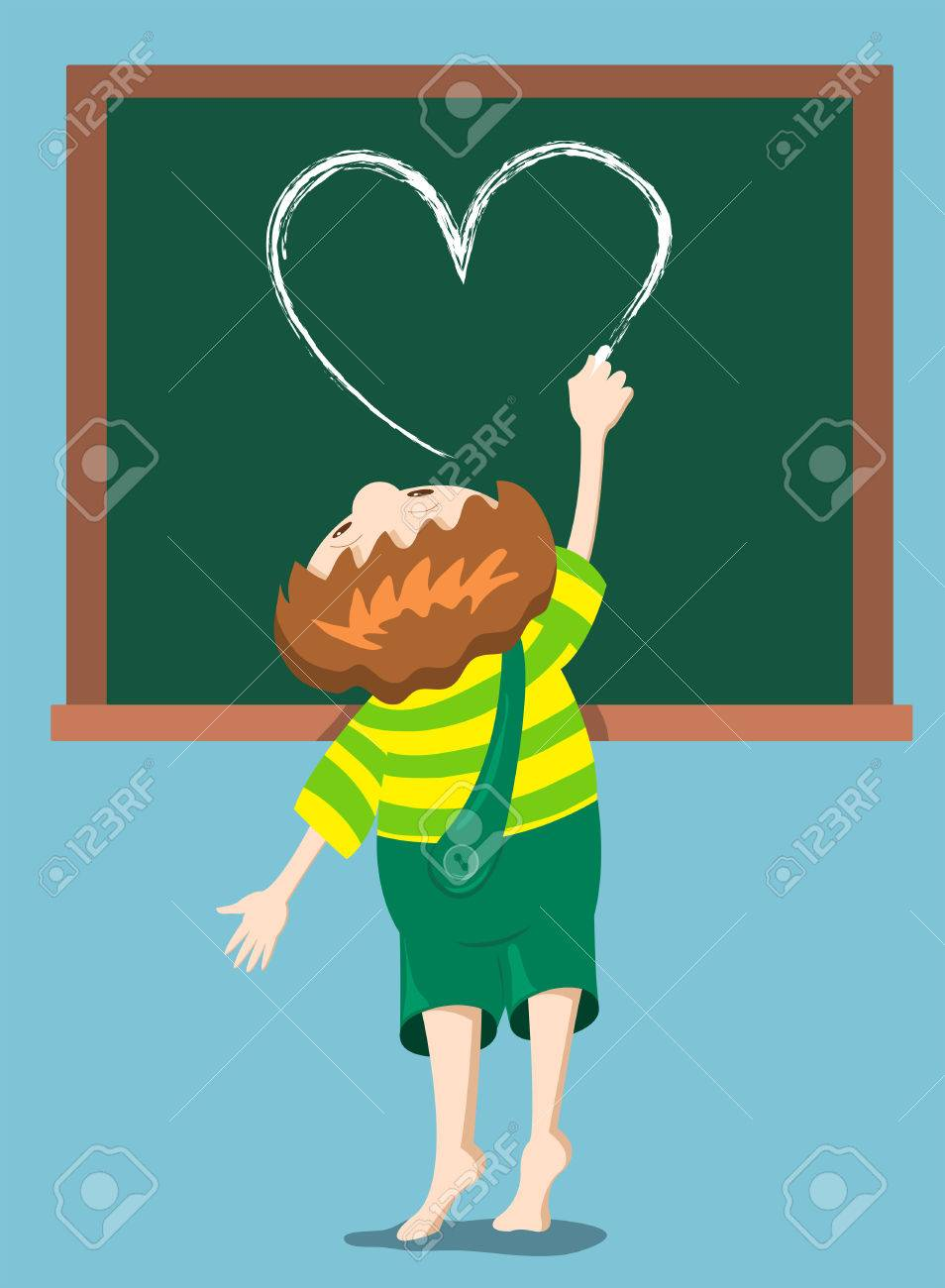 The boy draws heart on the blackboard. Cartoon illustration. Stock Vector - 7929505
