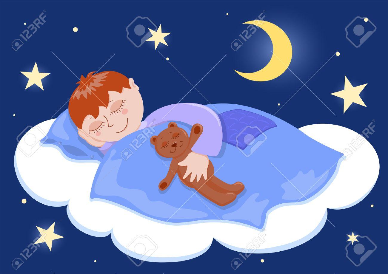 Boy and his teddy sleep. Cartoon illustration. Stock Vector - 7929506