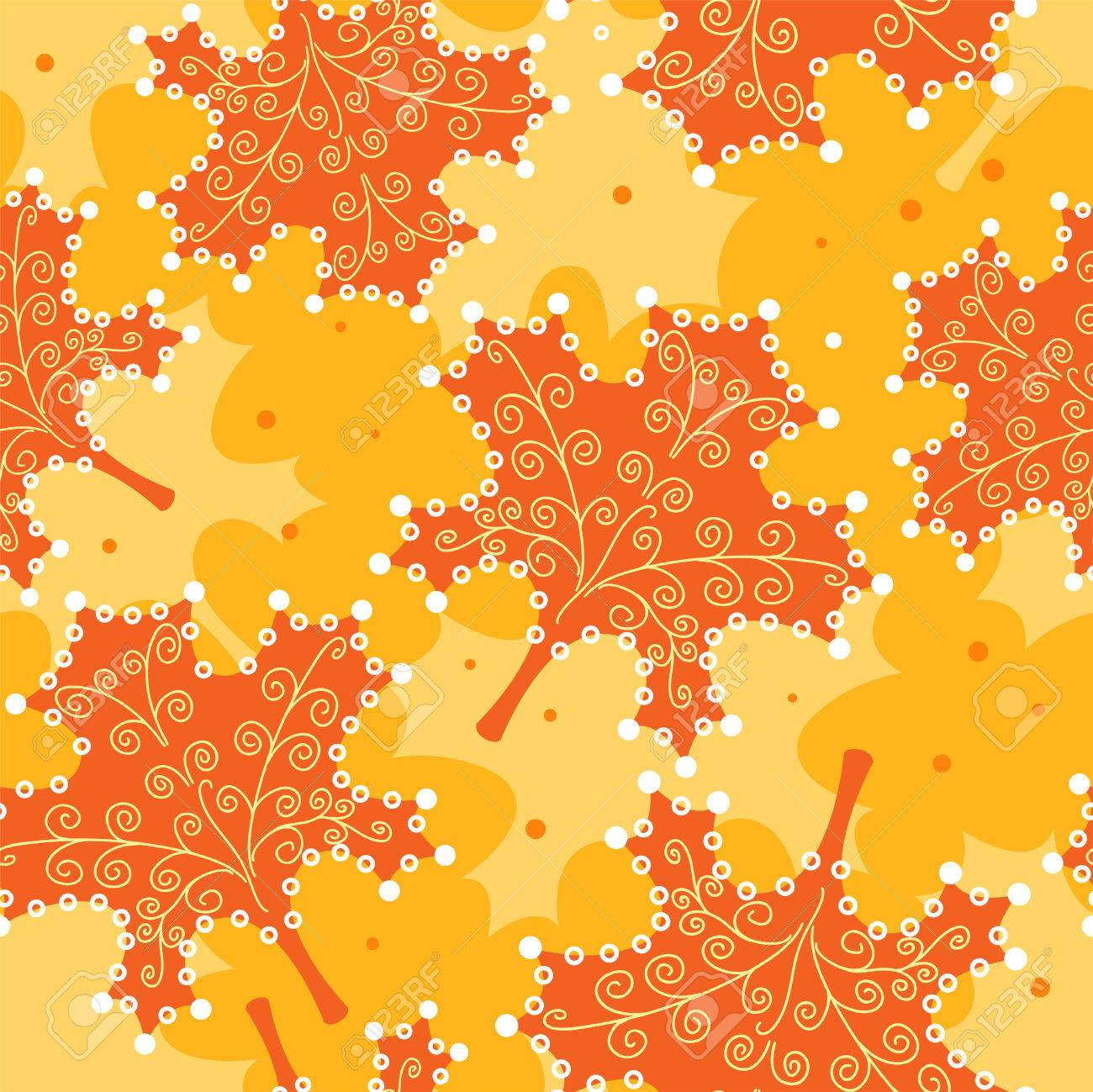 Seamless pattern yellow leaves. Stock Vector - 8256523