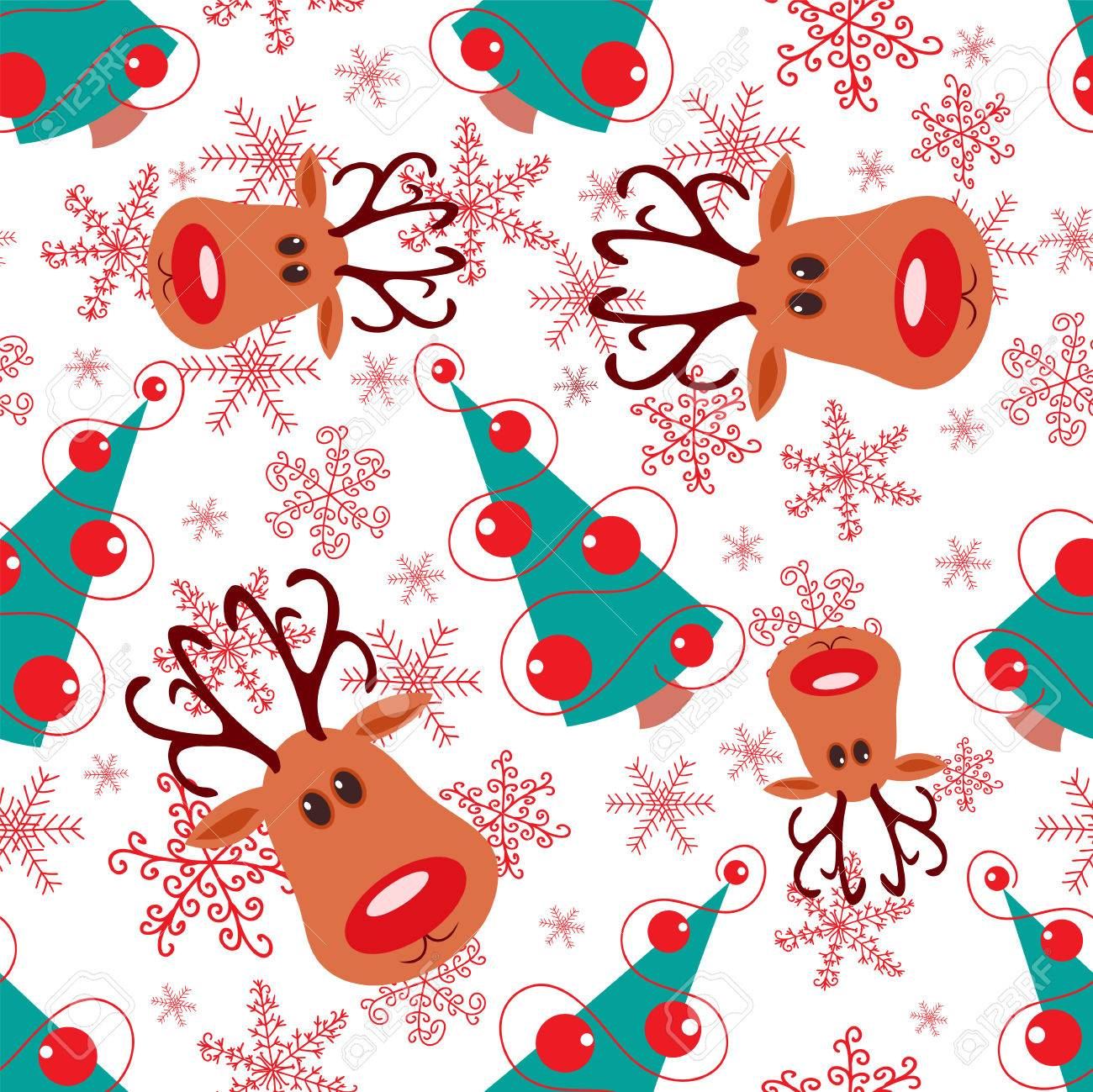 Seamless christmas pattern. Rudolph, tree and snowflakes on white background. Stock Vector - 8256477