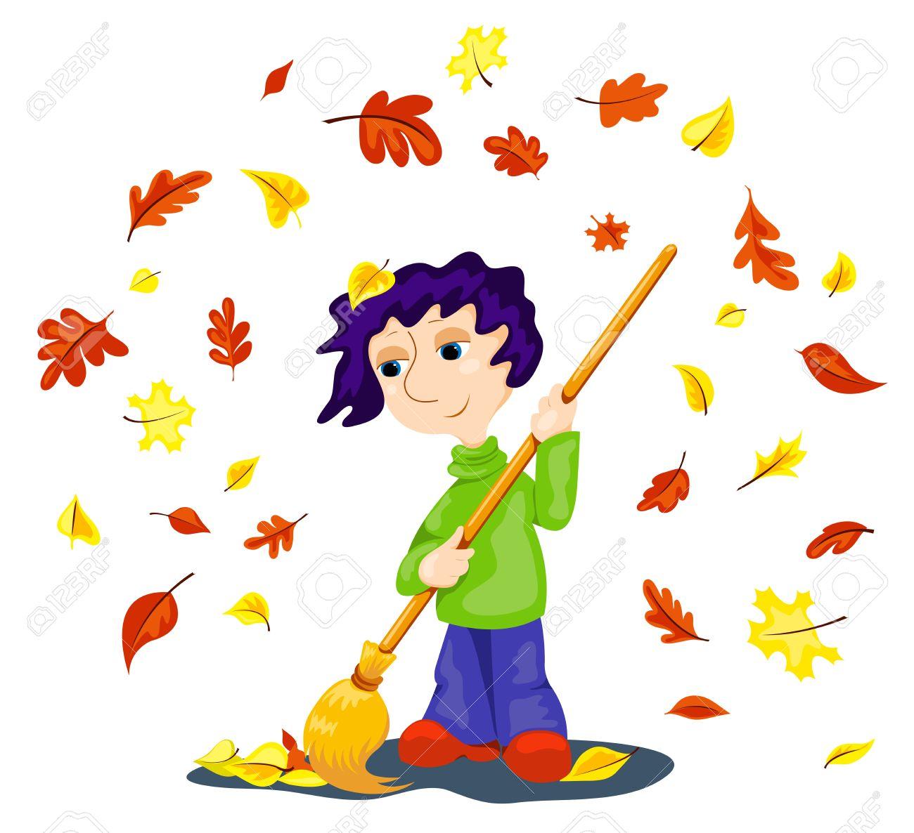 The boy cleans autumn leaves. Cartoon vector illustration. Stock Vector - 10569760