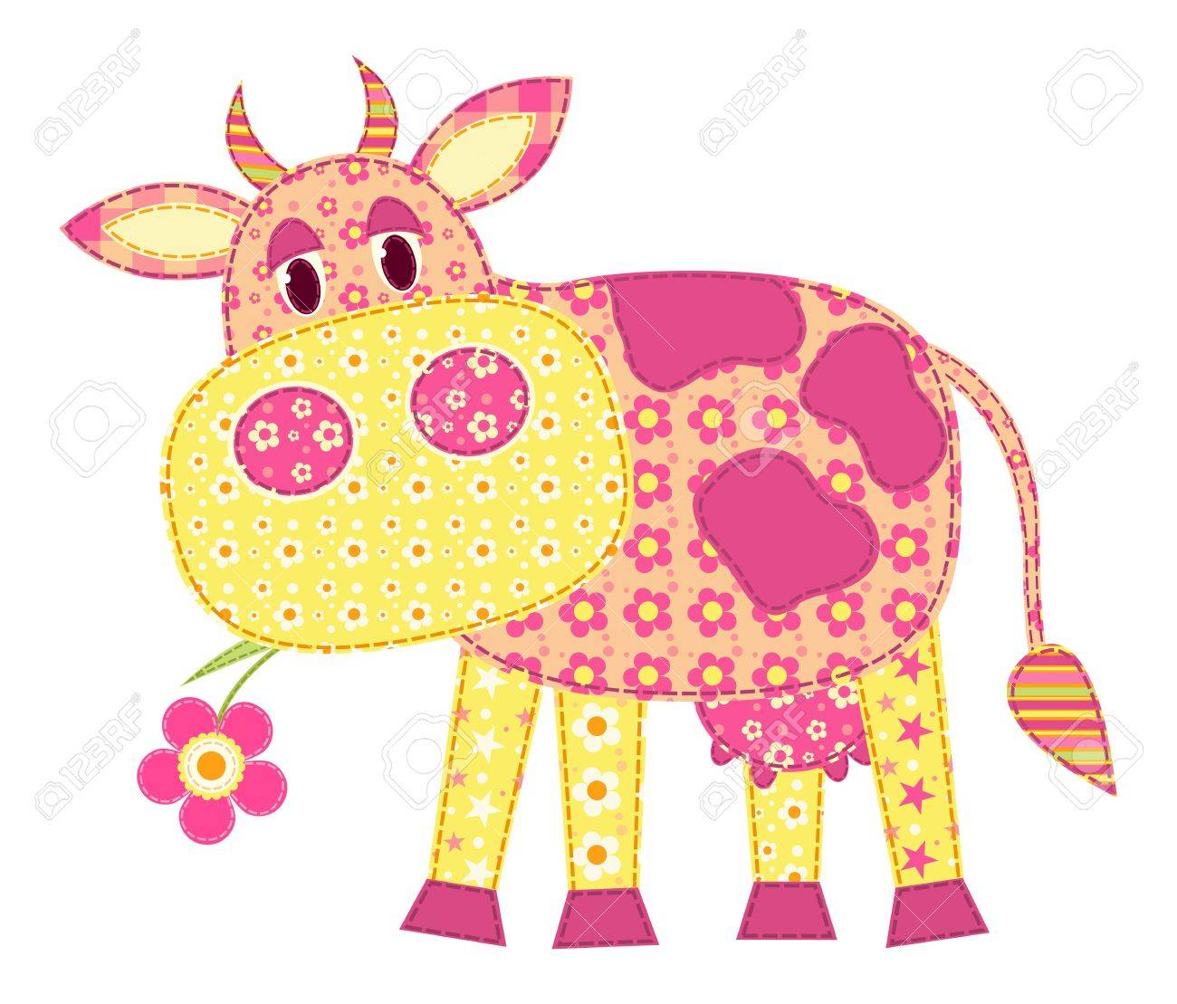 Application cow isolated on white. Patchwork series.  illustration. Stock Vector - 12253483