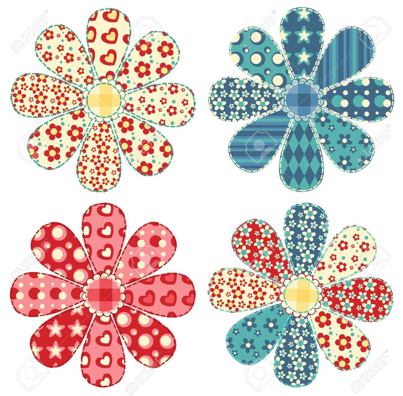 Set of four quilt flower  Patchwork series illustration Stock Vector - 13593231