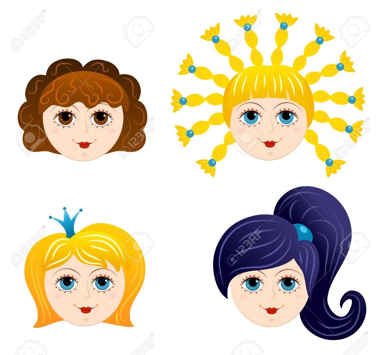 set of girls faces 1 cartoon royalty free cliparts vectors and