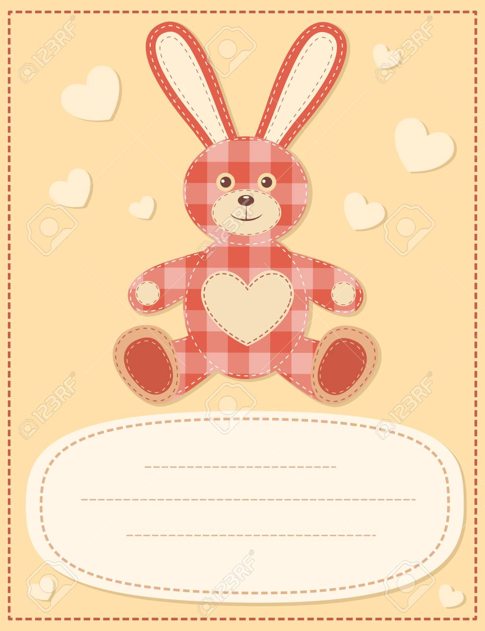Card with the hare for baby shower 2 Stock Vector - 15381605