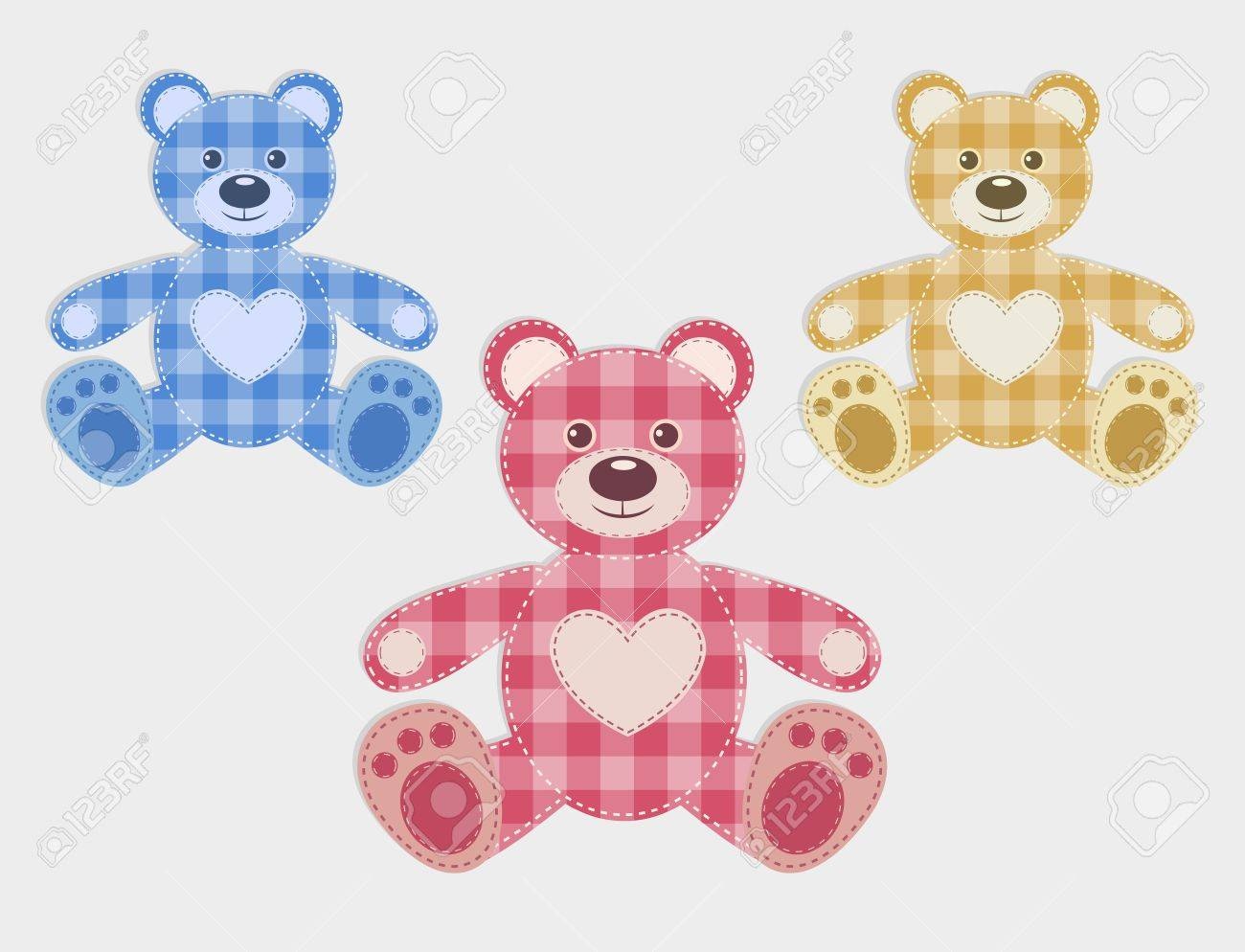 Set of color teddy bear Stock Vector - 15695536