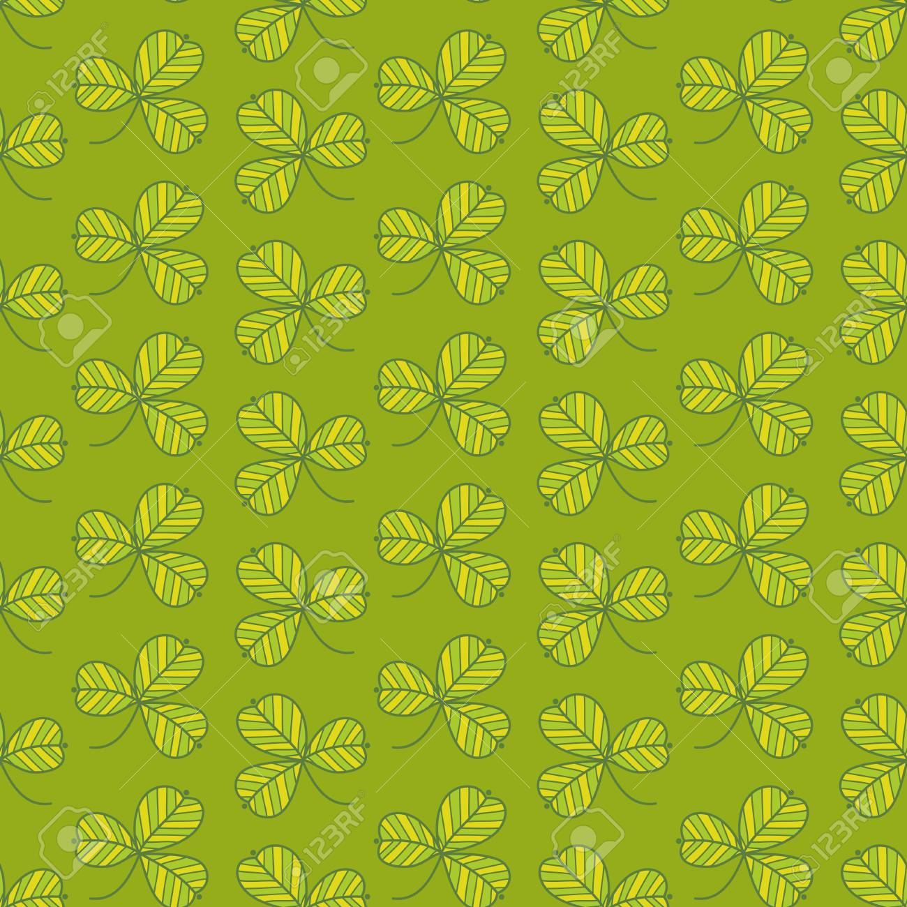 Green clover seamless pattern. Hand-drawing vector background. Stock Vector - 17218876