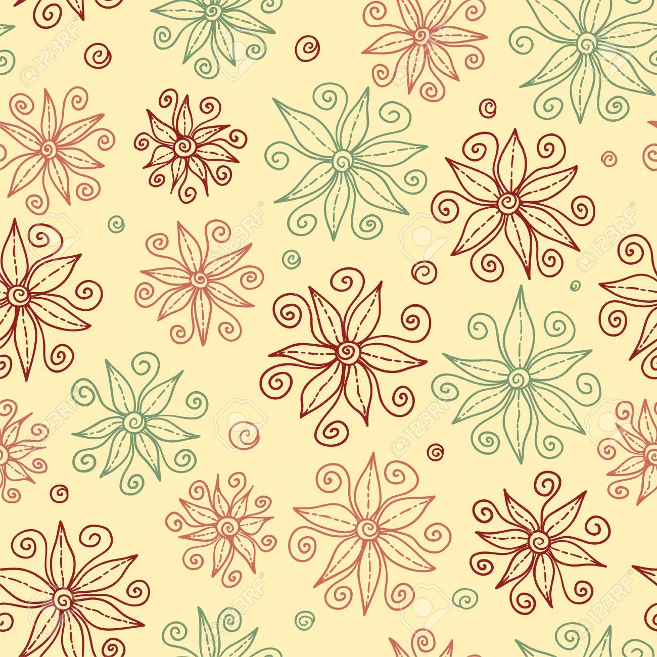 Beautiful doodle flowers seamless pattern Stock Vector - 17218871