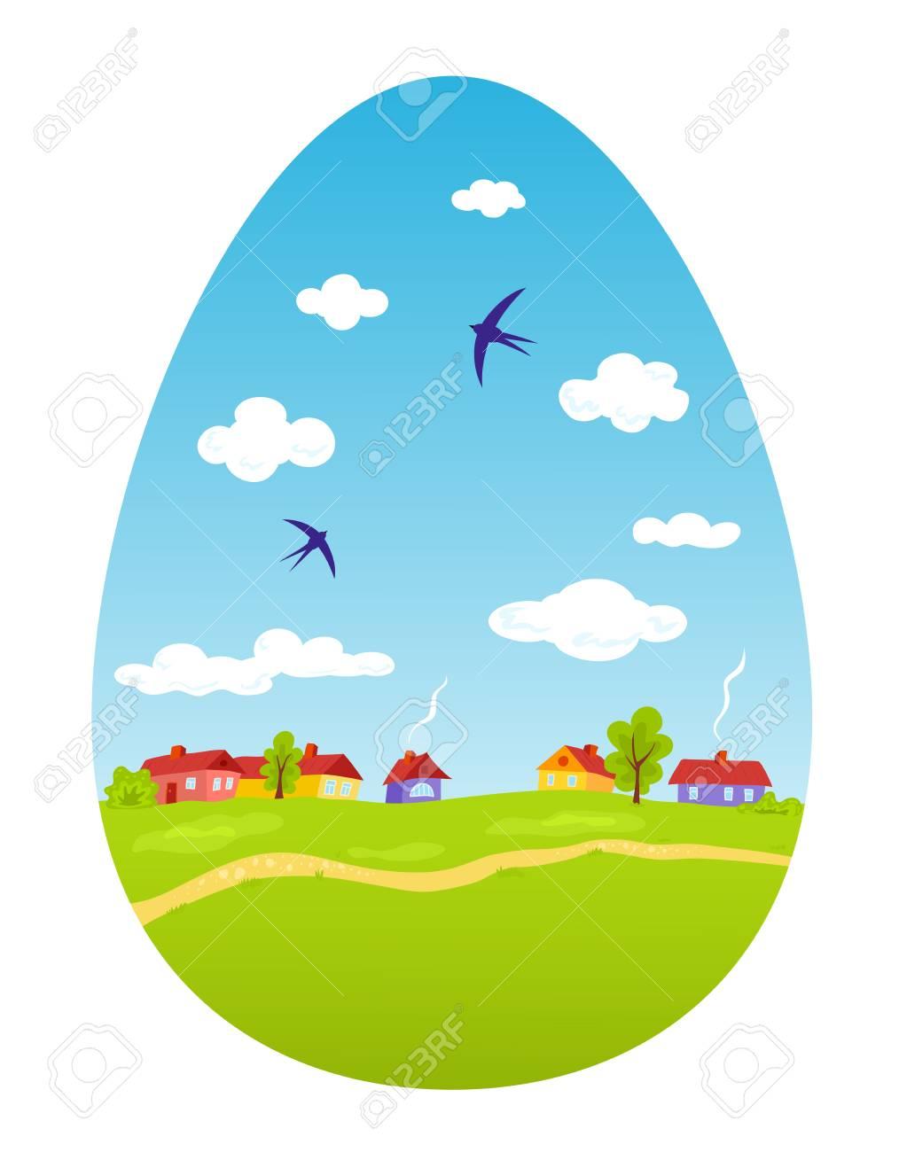 Spring landscape in the form of Easter egg Stock Vector - 18197473