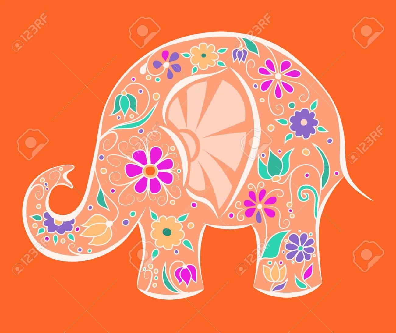 オレンジ色の花を象 漫画のベクトルのイラスト のイラスト素材 ベクタ Image