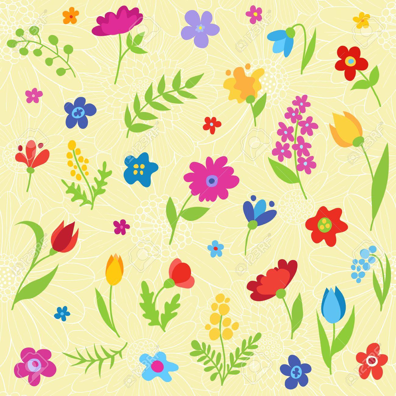 Patron Transparente Hermosa Con Flores De Primavera Vector De
