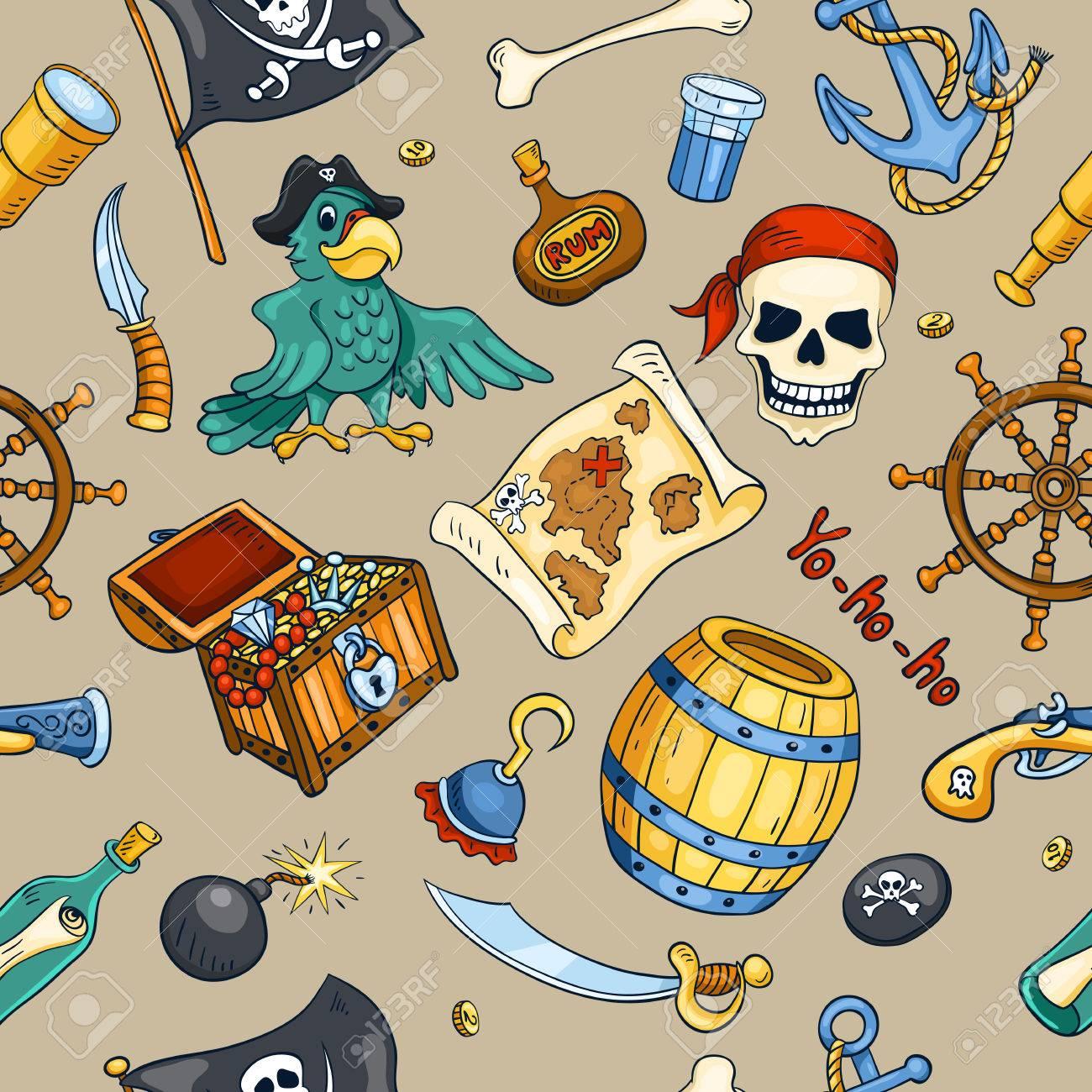 Color De Pirata Sin Patrón. Boceto De Fondo De Dibujos Animados ...