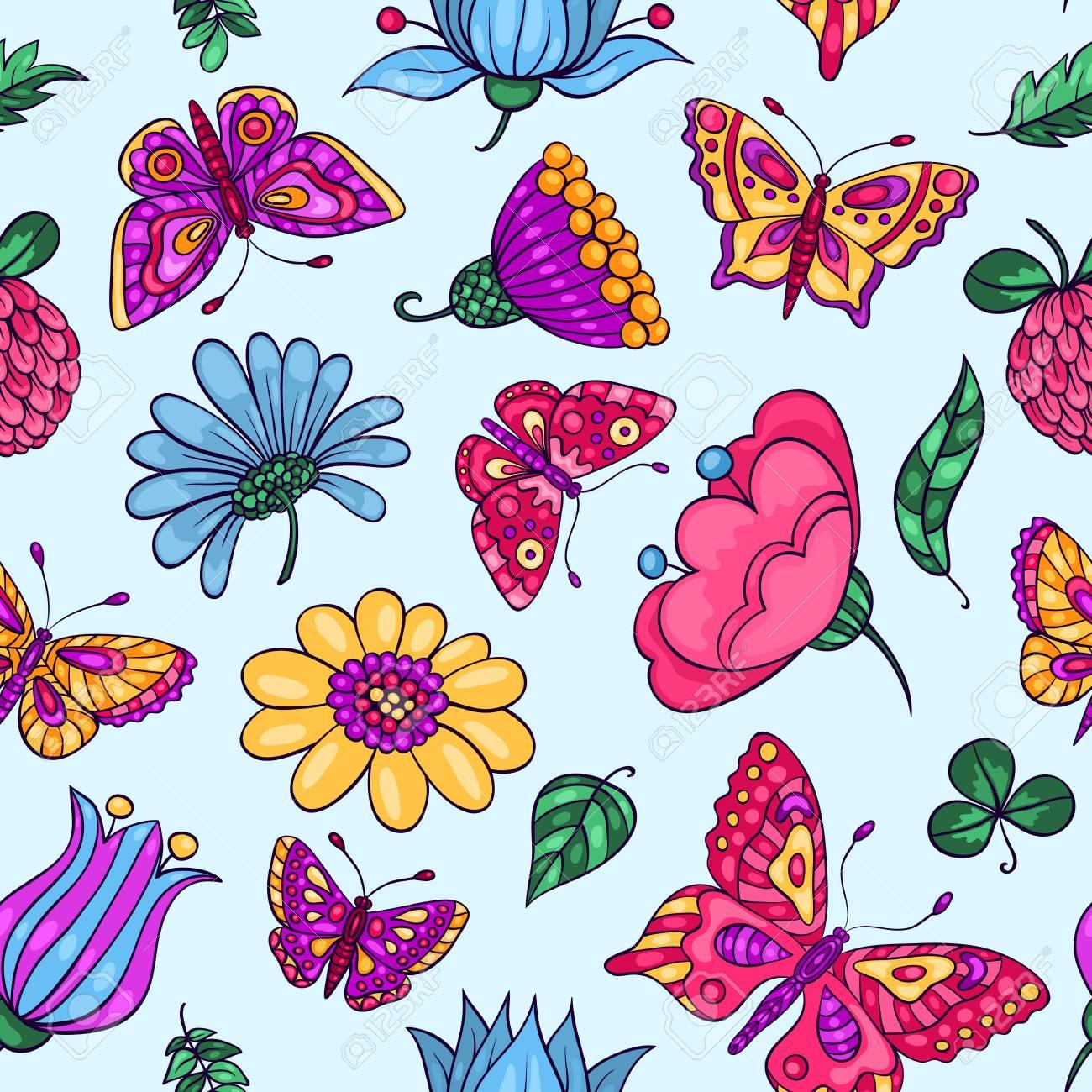 Patrón Sin Fisuras Con Las Mariposas Y Las Flores Vector De Dibujos