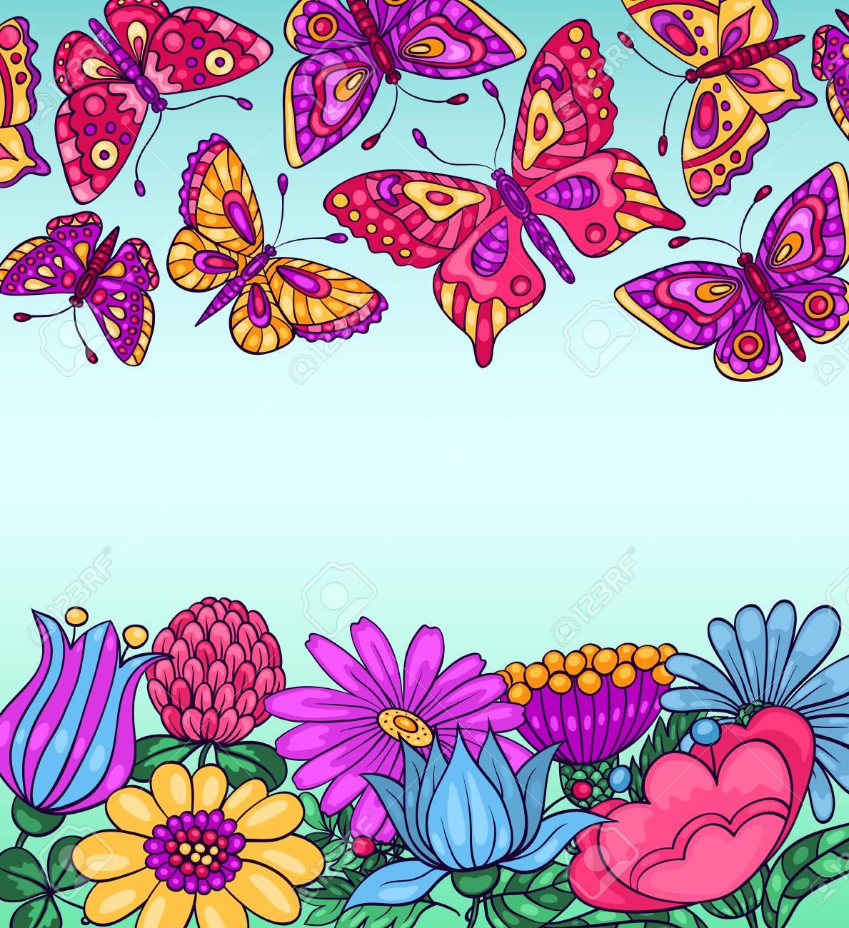 Tarjeta Con Las Mariposas Y Las Flores Ilustración Vectorial De