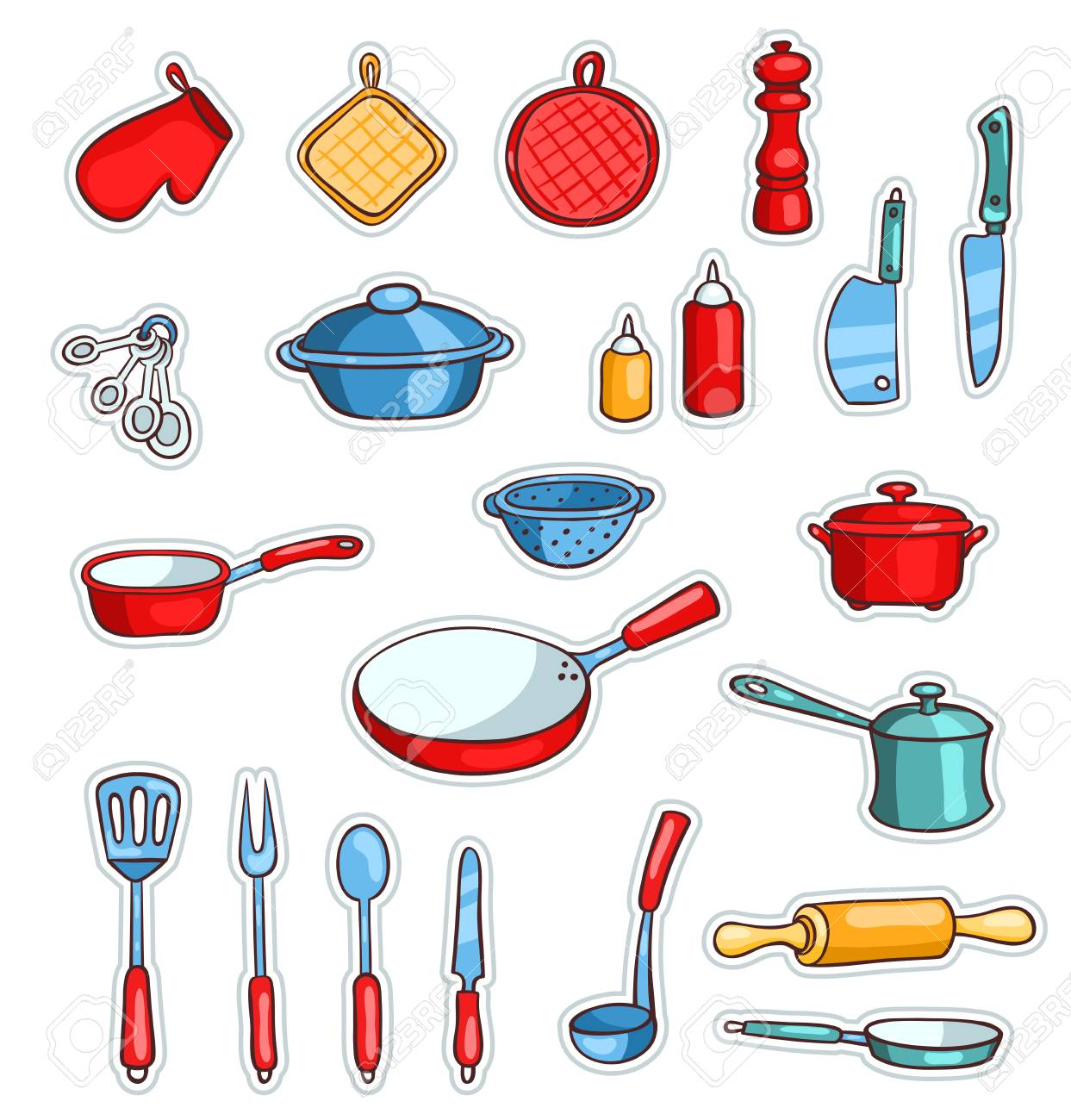 Conjunto De Utensilios De Cocina De Dibujos Animados Vector